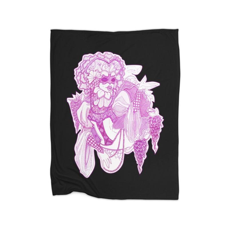 Violet Masked Blossom Home Blanket by catiworks's Artist Shop