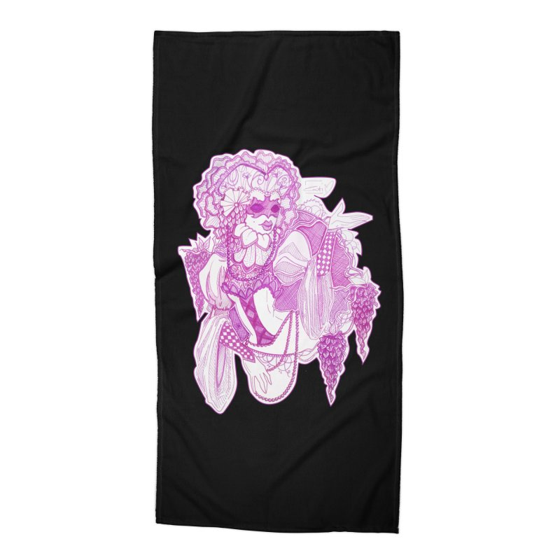 Violet Masked Blossom Accessories Beach Towel by catiworks's Artist Shop