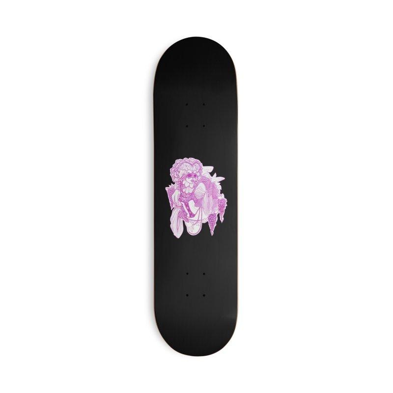 Violet Masked Blossom Accessories Skateboard by catiworks's Artist Shop