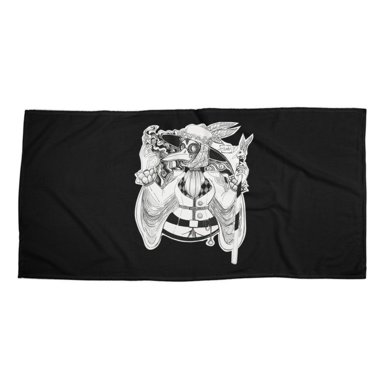 Masked Plague Doctor Accessories Beach Towel by catiworks's Artist Shop