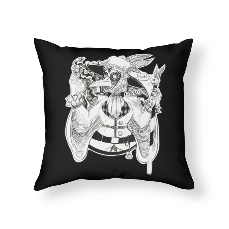Masked Plague Doctor Home Throw Pillow by catiworks's Artist Shop