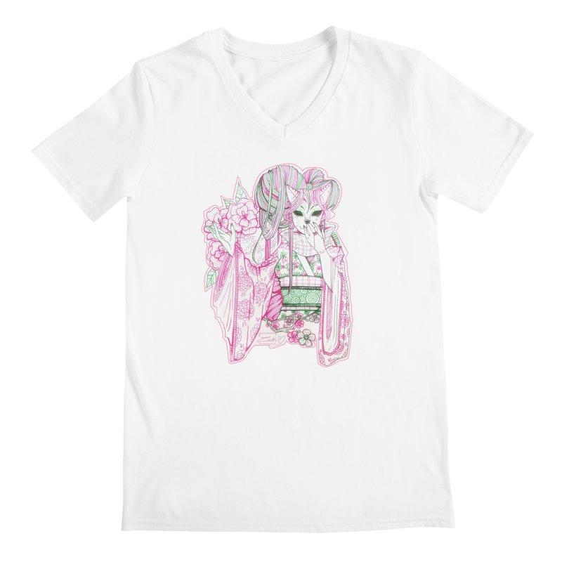 Masked Sakura Blossom Men's V-Neck by catiworks's Artist Shop
