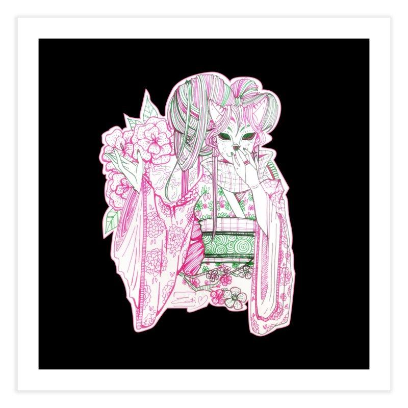 Masked Sakura Blossom Home Fine Art Print by catiworks's Artist Shop