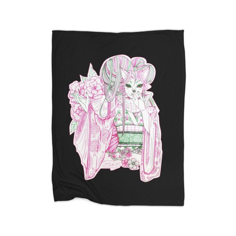 Masked Sakura Blossom Home Blanket by catiworks's Artist Shop