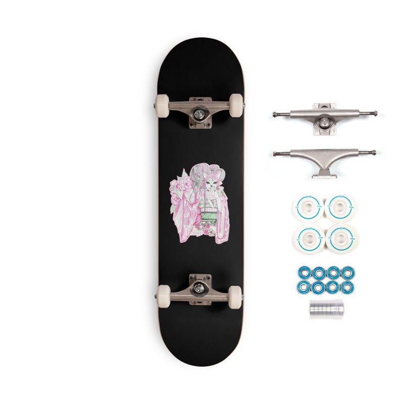 Masked Sakura Blossom Accessories Skateboard by catiworks's Artist Shop