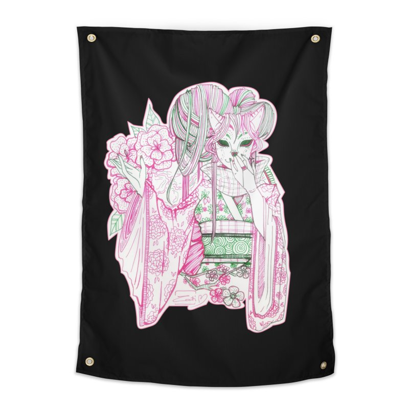 Masked Sakura Blossom Home Tapestry by catiworks's Artist Shop