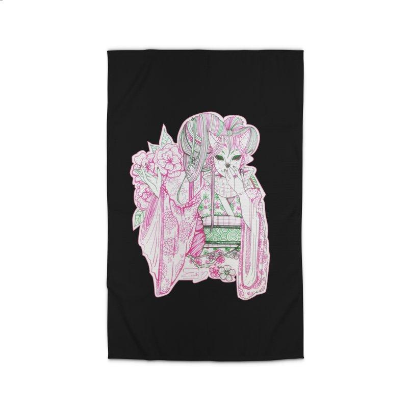 Masked Sakura Blossom Home Rug by catiworks's Artist Shop