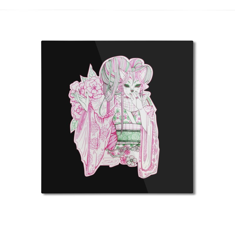 Masked Sakura Blossom Home Mounted Aluminum Print by catiworks's Artist Shop