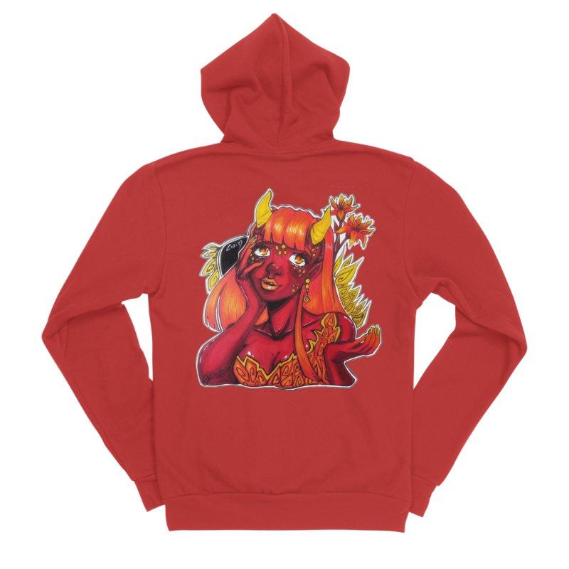 Red Orange Yellow Demon Women's Zip-Up Hoody by catiworks's Artist Shop