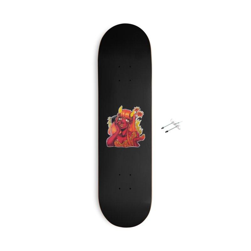 Red Orange Yellow Demon Accessories Skateboard by catiworks's Artist Shop
