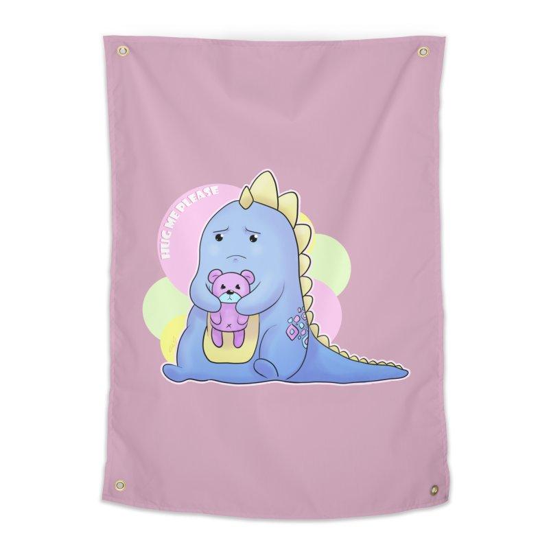 Sad Dino - Hug me Please Home Tapestry by catiworks's Artist Shop
