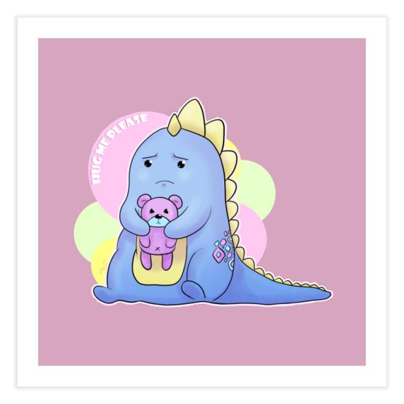 Sad Dino - Hug me Please Home Fine Art Print by catiworks's Artist Shop