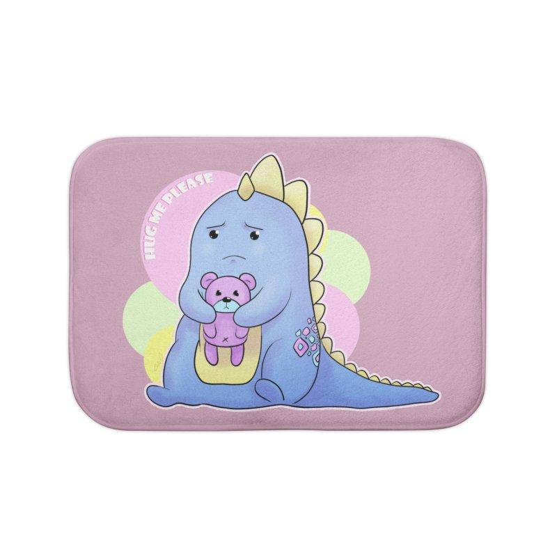 Sad Dino - Hug me Please Home Bath Mat by catiworks's Artist Shop