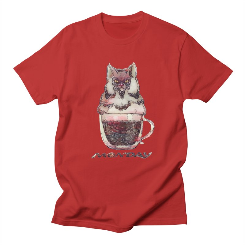 Monday Coffee Men's T-shirt by Catopathy