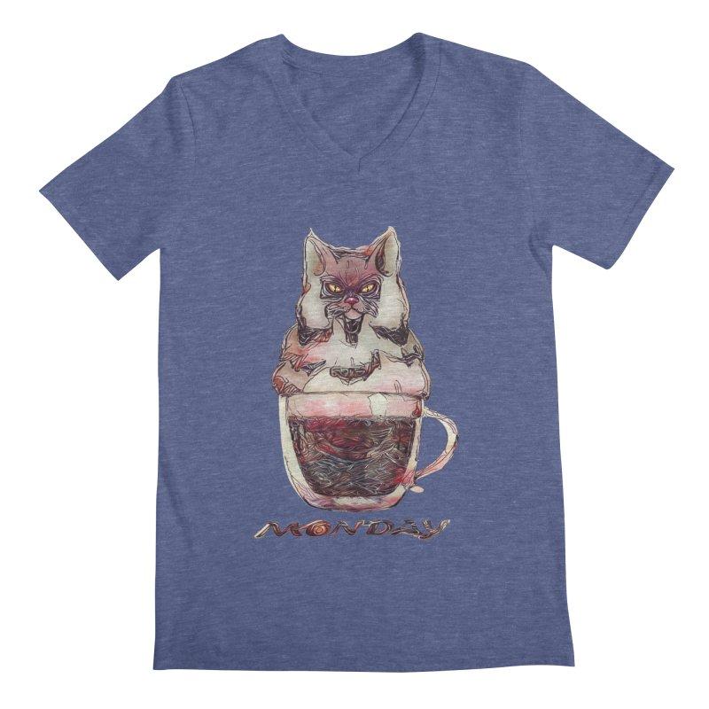Monday Coffee Men's V-Neck by Catopathy