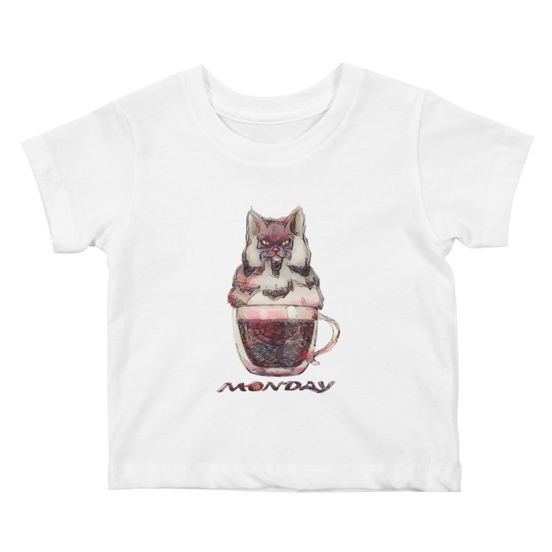 Monday Coffee Kids Baby T-Shirt by Catopathy