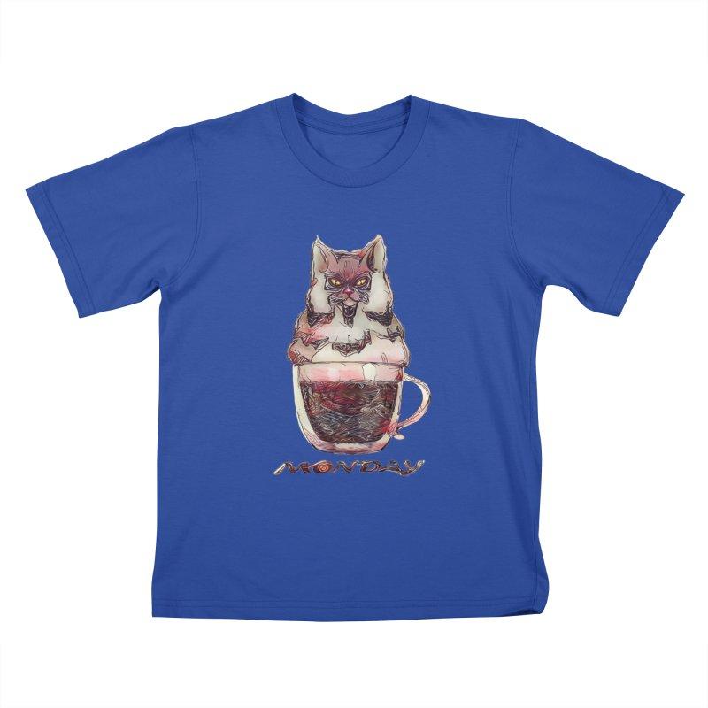 Monday Coffee Kids T-shirt by Catopathy