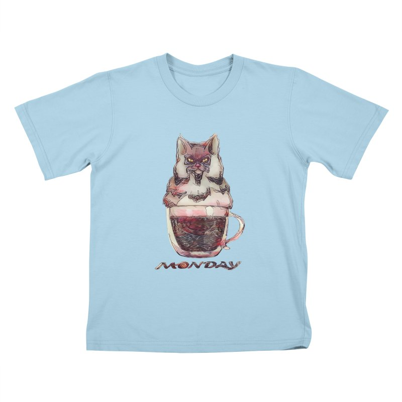 Monday Coffee Kids T-Shirt by Catopathy