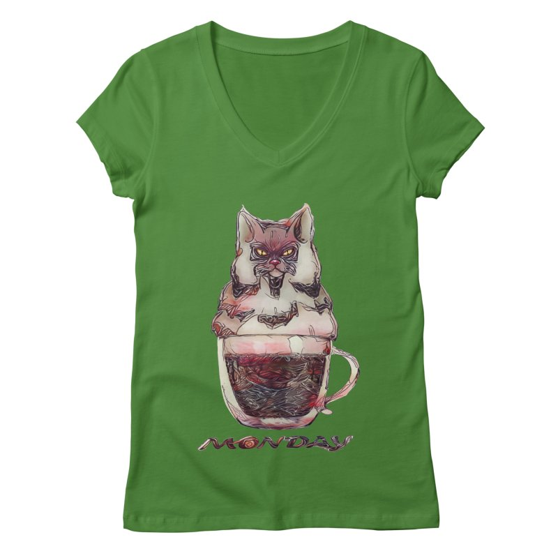 Monday Coffee Women's V-Neck by Catopathy