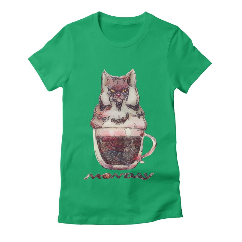 Monday Coffee Women's Fitted T-Shirt by Catopathy