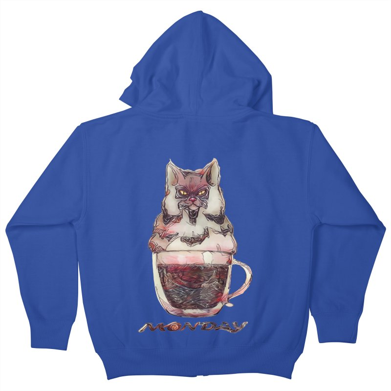 Monday Coffee Kids Zip-Up Hoody by Catopathy