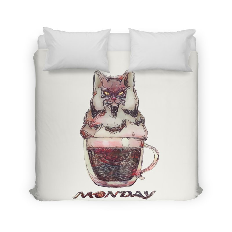 Monday Coffee Home Duvet by Catopathy