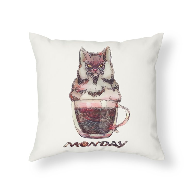 Monday Coffee Home Throw Pillow by Catopathy