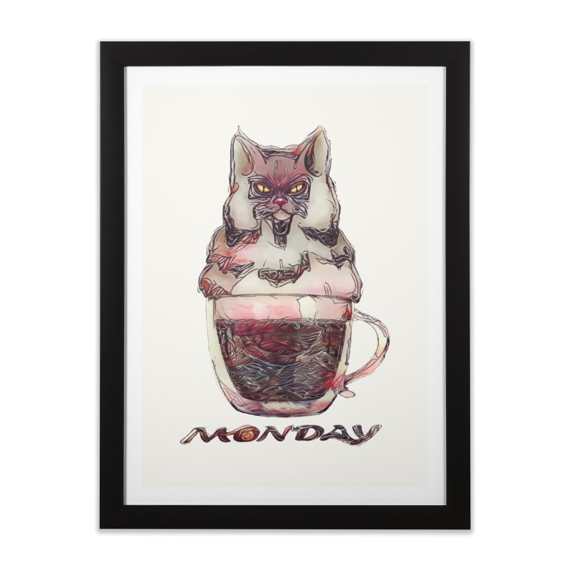 Monday Coffee Home Framed Fine Art Print by Catopathy