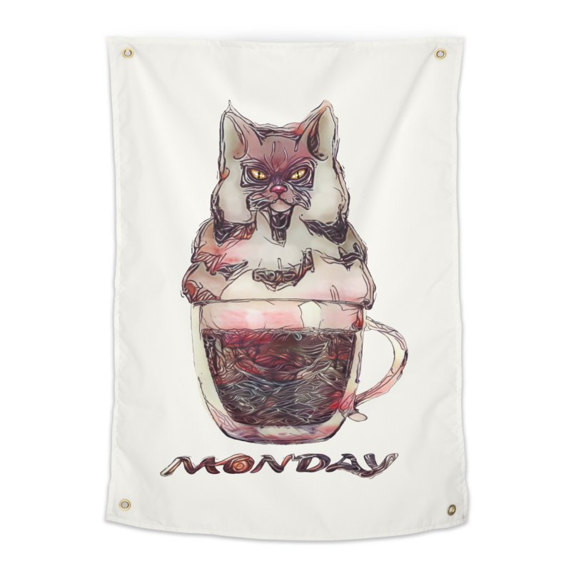 Monday Coffee Home Tapestry by Catopathy