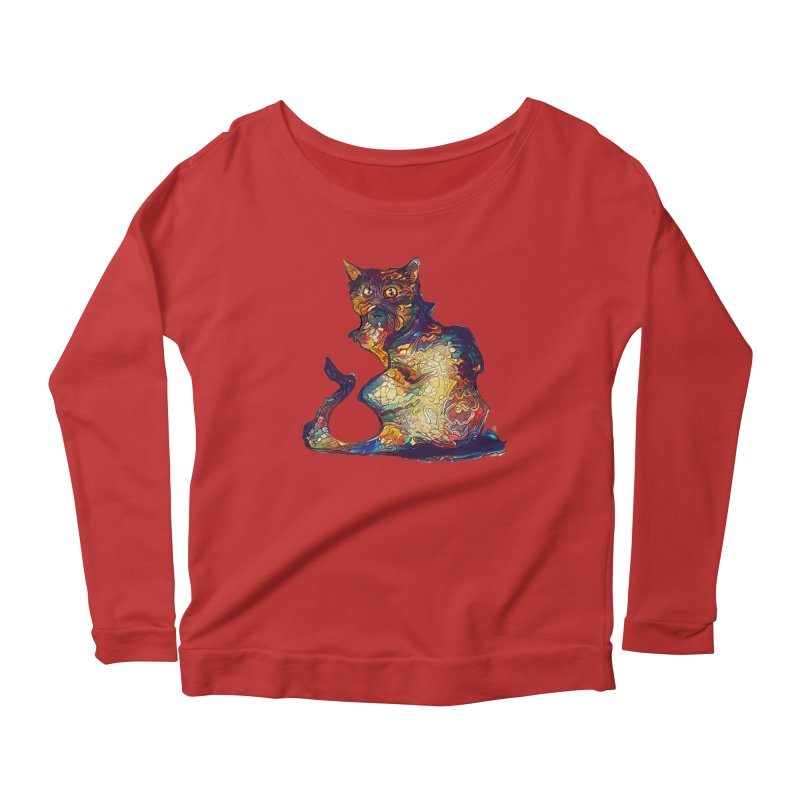 Bright and artsy Women's Longsleeve Scoopneck  by Catopathy