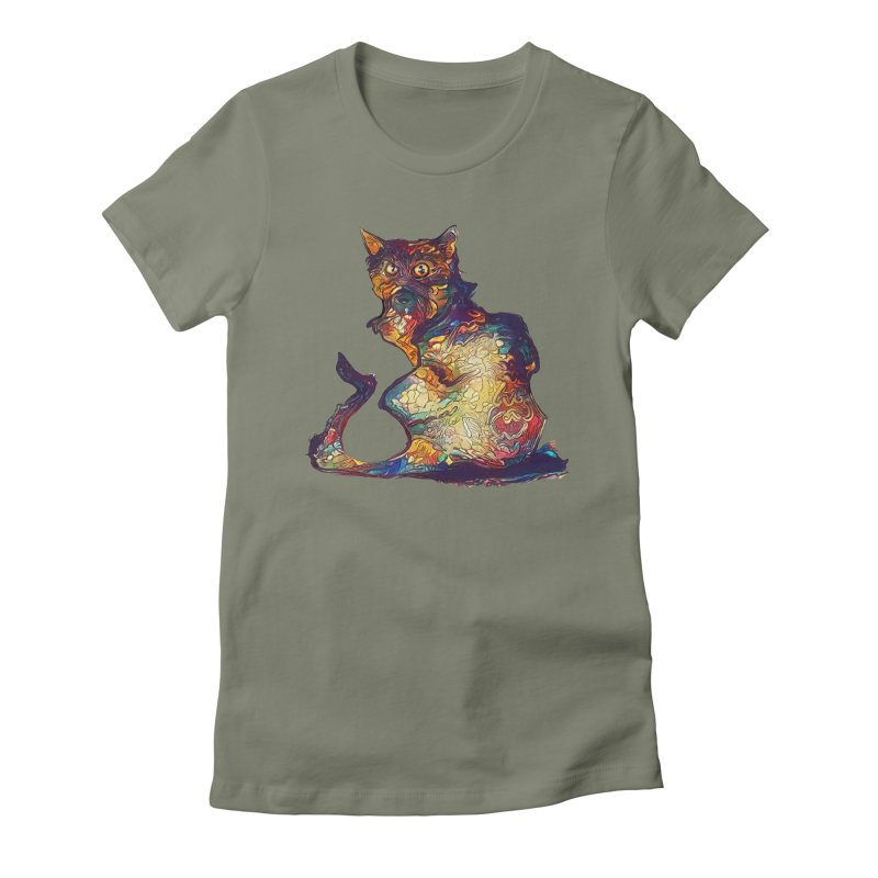 Bright and artsy Women's Fitted T-Shirt by Catopathy