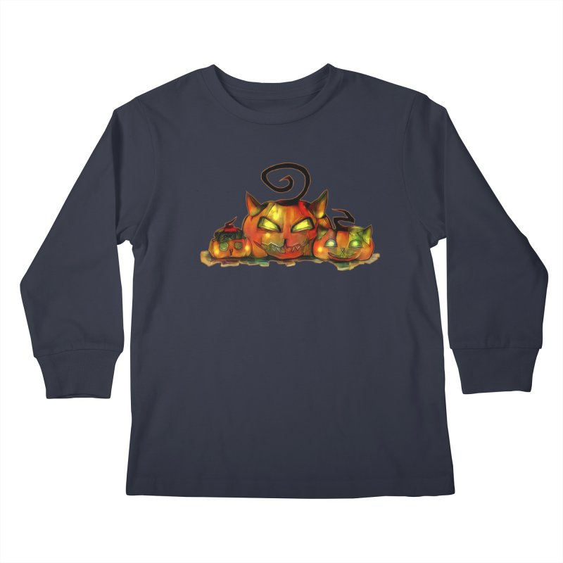 Halloween Kids Longsleeve T-Shirt by Catopathy