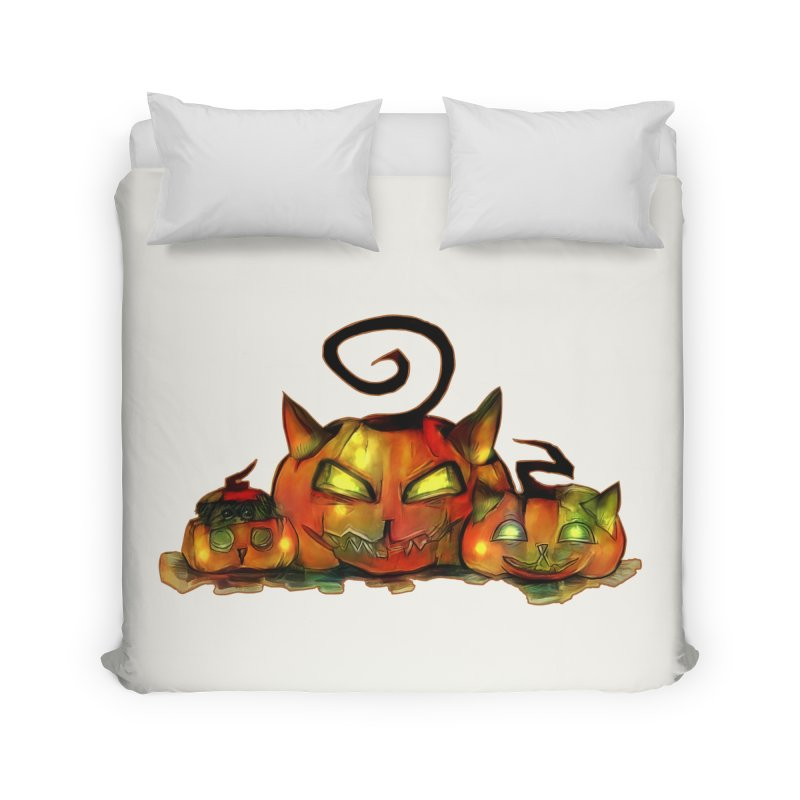Halloween Home Duvet by Catopathy