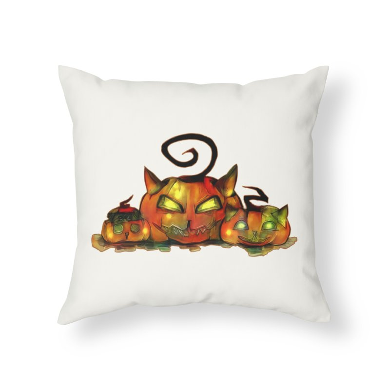 Halloween Home Throw Pillow by Catopathy
