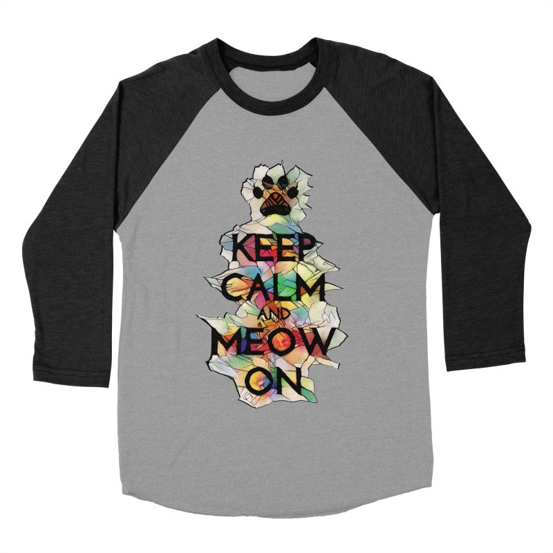Keep Calm and Meow on Women's Baseball Triblend T-Shirt by Catopathy