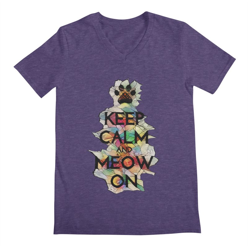 Keep Calm and Meow on Men's V-Neck by Catopathy