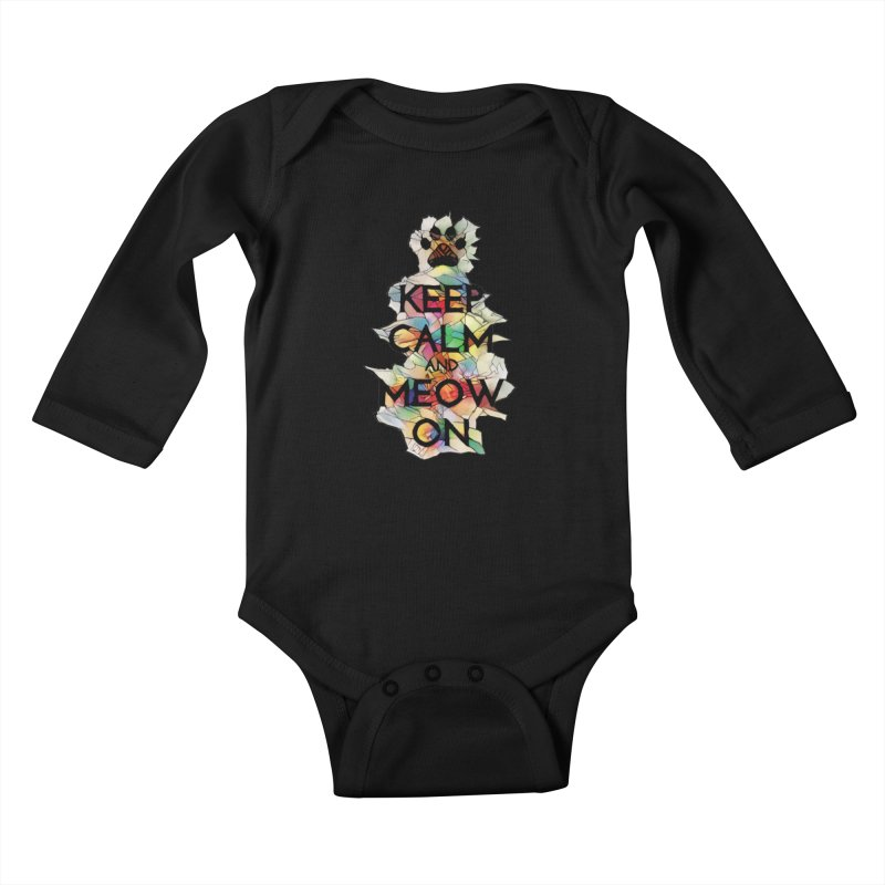 Keep Calm and Meow on Kids Baby Longsleeve Bodysuit by Catopathy