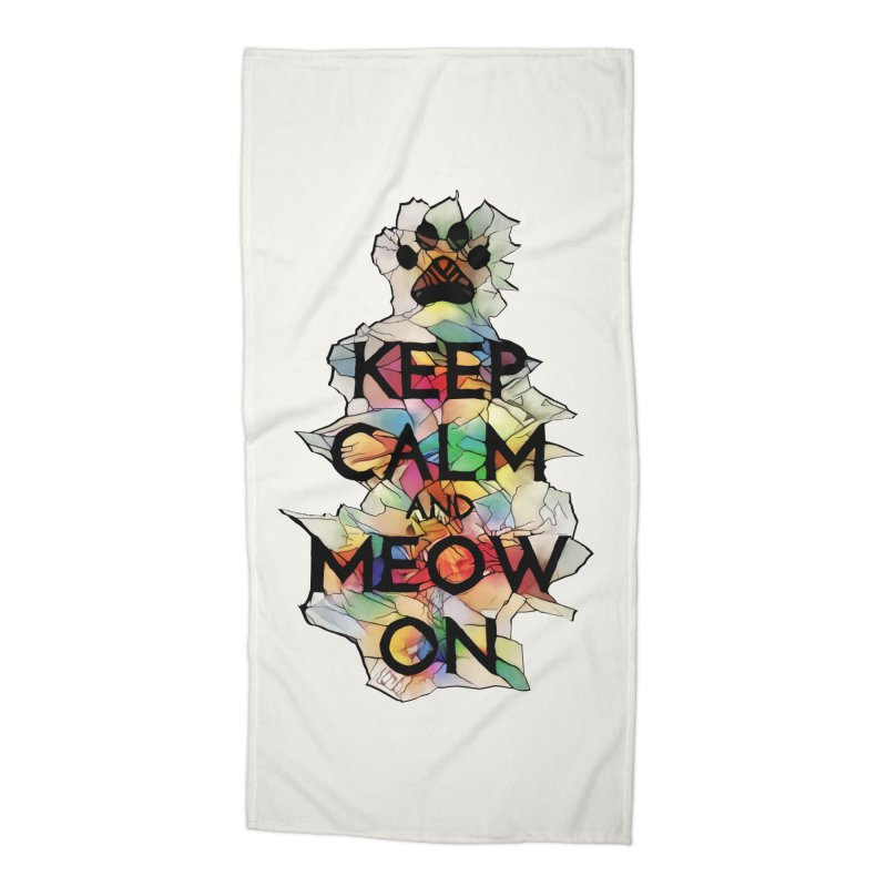 Keep Calm and Meow on Accessories Beach Towel by Catopathy