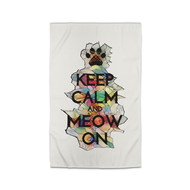 Keep Calm and Meow on Home Rug by Catopathy