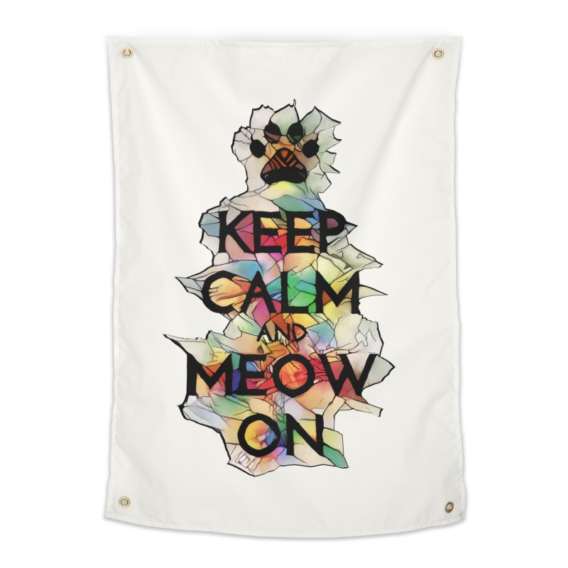 Keep Calm and Meow on Home Tapestry by Catopathy