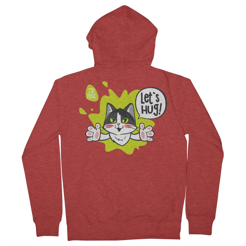 Let's hug! Men's French Terry Zip-Up Hoody by SHOP CatPusic