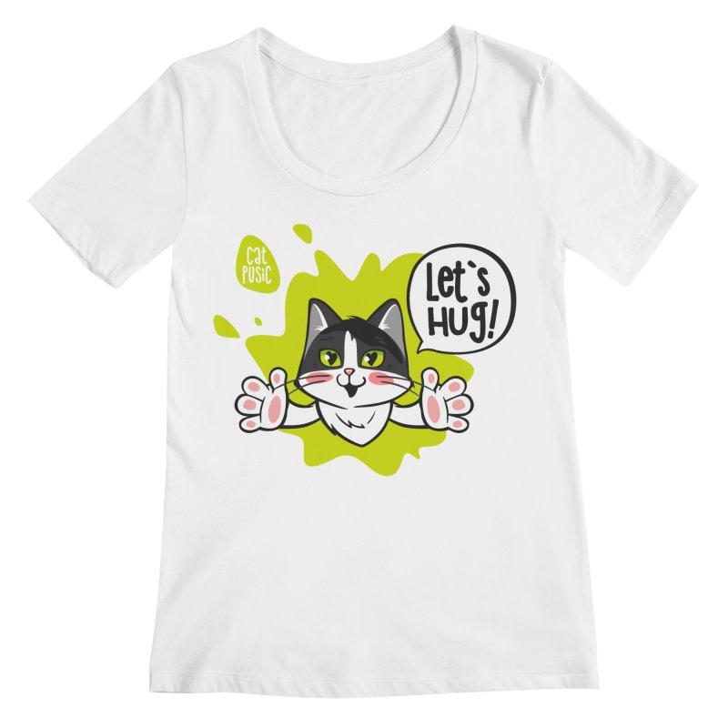 Let's hug! Women's Regular Scoop Neck by SHOP CatPusic
