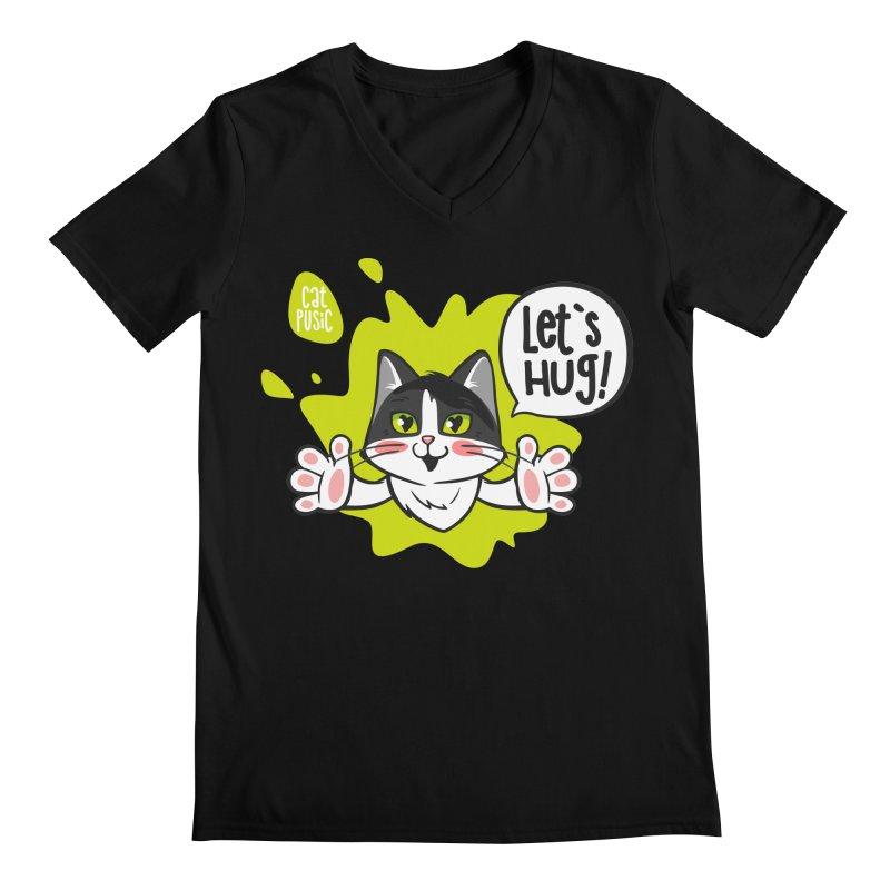 Let's hug! Men's Regular V-Neck by SHOP CatPusic