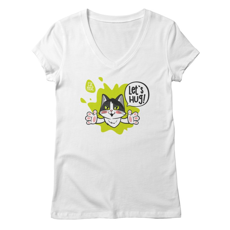 Let's hug! Women's Regular V-Neck by SHOP CatPusic