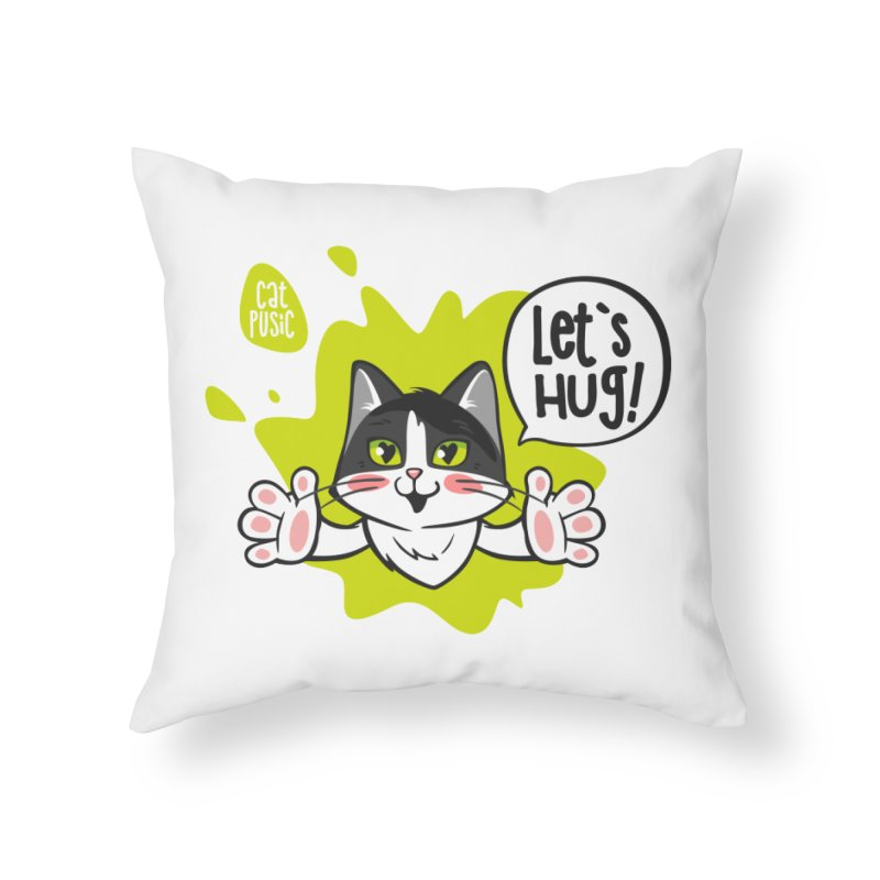 Let's hug! Home Throw Pillow by SHOP CatPusic