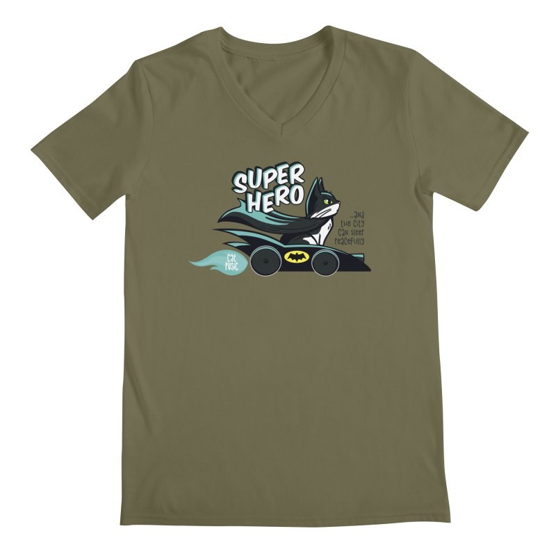 Super Hero Men's V-Neck by SHOP CatPusic
