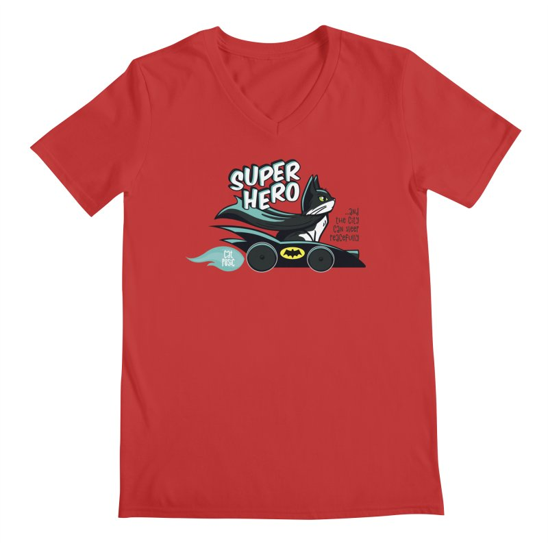 Super Hero Men's Regular V-Neck by SHOP CatPusic