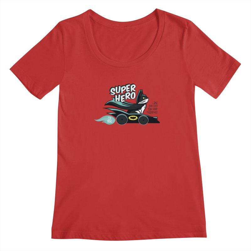 Super Hero Women's Regular Scoop Neck by SHOP CatPusic