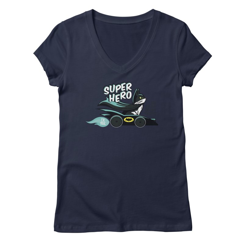 Super Hero Women's V-Neck by SHOP CatPusic