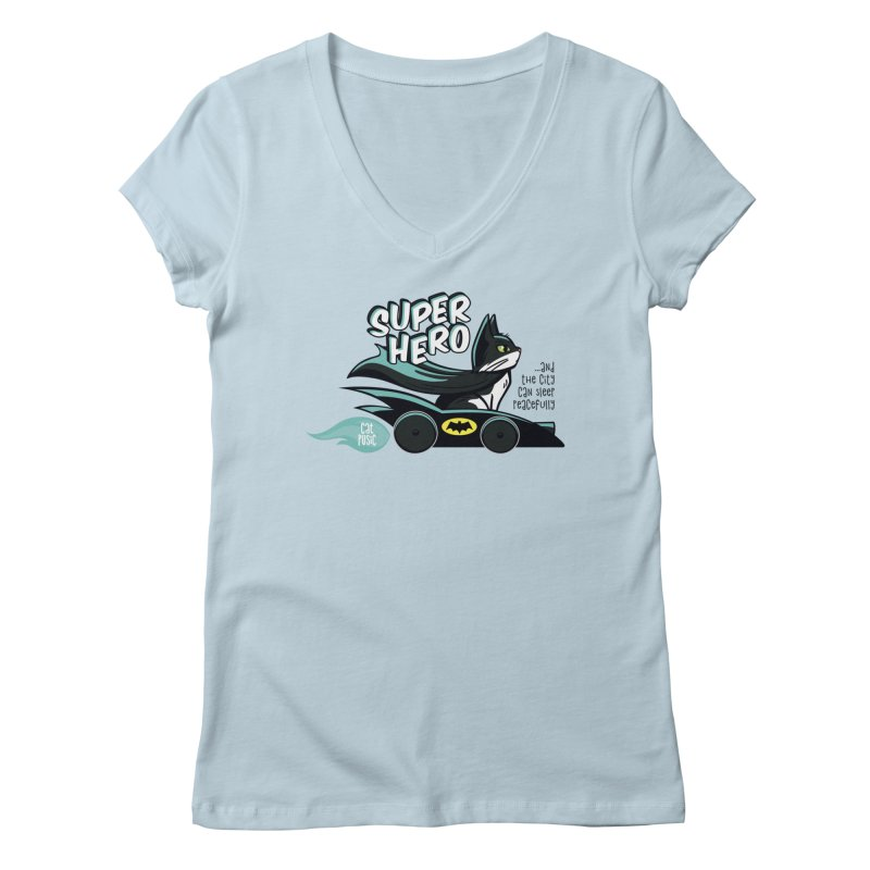 Super Hero Women's Regular V-Neck by SHOP CatPusic